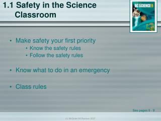 1.1 Safety in the Science Classroom