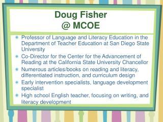Doug Fisher @ MCOE