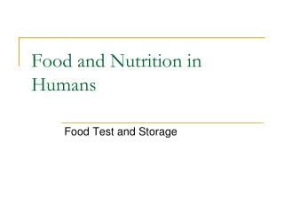 Food and Nutrition in Humans
