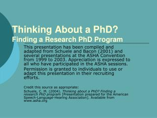 Thinking About a PhD Finding a Research PhD Program