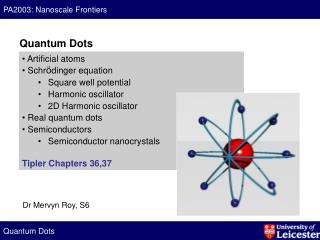 Artificial atoms  Schr ö dinger equation Square well potential Harmonic oscillator 2D Harmonic oscillator  Real quantu