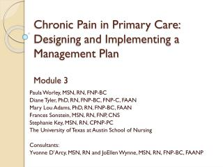 Chronic Pain in Primary Care: Designing and Implementing a Management Plan Module 3