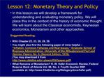 Lesson 12: Monetary Theory and Policy