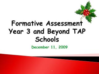 Formative Assessment Year 3 and Beyond TAP Schools