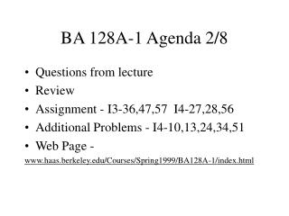 BA 128A-1 Agenda 2/8