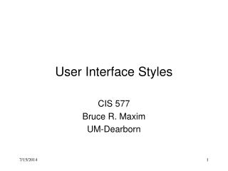 User Interface Styles