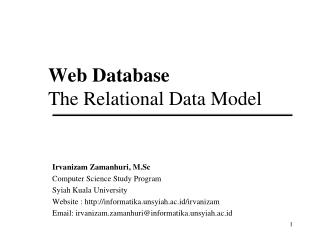 Web Database The Relational Data Model