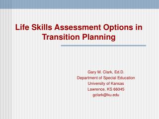 Life Skills Assessment Options in Transition Planning
