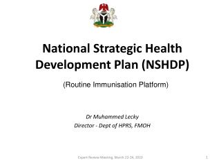 National Strategic Health Development Plan NSHDP