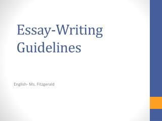 Essay-Writing Guidelines