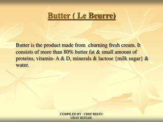 Butter ( Le Beurre)