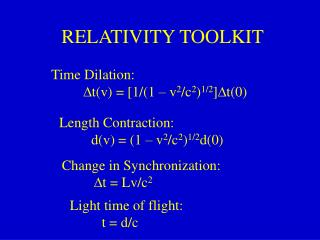 RELATIVITY TOOLKIT
