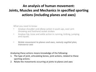 An analysis of human movement: Joints, Muscles and Mechanics  in  specified sporting  actions ( including planes and ax