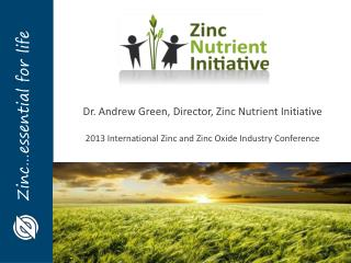 Dr. Andrew Green, Director, Zinc Nutrient Initiative 2013 International Zinc and Zinc Oxide Industry Conference
