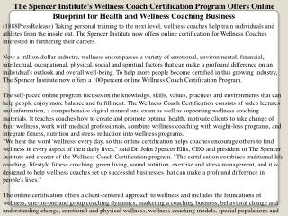 The Spencer Institute's Wellness Coach Certification Program