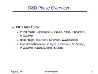 D&D Task Force: PEPII team:  S.DeBarger , S.Ecklund, A.Hill, D.Kharakh, M.Zurawel BaBar team:  H.J.Krebs , S.Pierson, W
