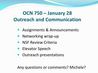 OCN  750 – January  28 Outreach and Communication