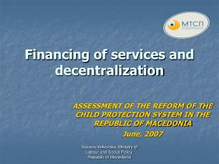Financing of services and decentralization