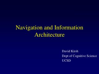 Navigation and Information Architecture