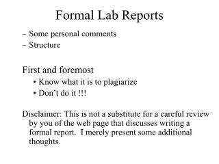 Formal Lab Reports
