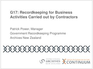 G17: Recordkeeping for Business Activities Carried out by Contractors