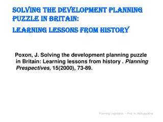 Solving the development planning puzzle in Britain: Learning lessons from history