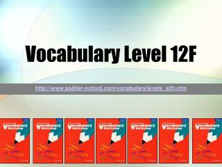 Vocabulary Level 12F