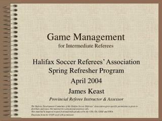 Game Management for Intermediate Referees