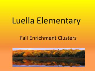 Fall Enrichment Clusters
