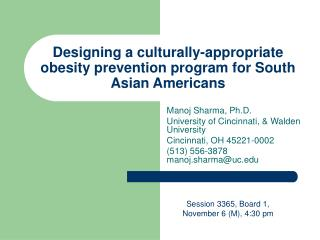 Designing a culturally-appropriate obesity prevention program for South Asian Americans