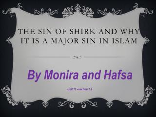 The sin of shirk and why it is a major sin in  I slam