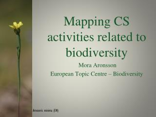 Mapping CS activities related to biodiversity  Mora Aronsson European Topic Centre – Biodiversity