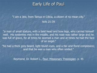 Early Life of Paul