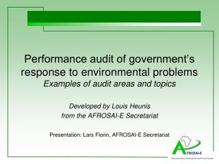 Performance audit of government's response to environmental problems Examples of audit areas and topics