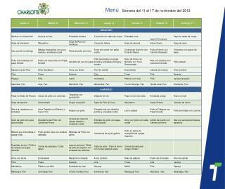 Menú  S emana del 11 al 17 de noviembre del 2013
