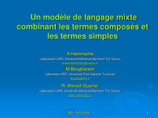 Un mod�le de langage mixte combinant les termes compos�s et les termes simples