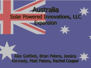 Australia Solar Powered Innovations, LLC Expansion