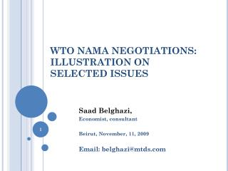 WTO NAMA NEGOTIATIONS: ILLUSTRATION ON  SELECTED ISSUES