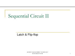 Sequential Circuit II