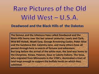 Rare Pictures of the Old Wild West � U.S.A.