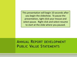 Annual Report development Public Value Statements