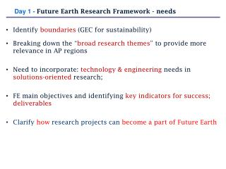 "Identify  boundaries (GEC for  sustainability) Breaking down the "" broad research themes "" to provide more relevance in"