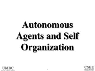 Autonomous Agents and Self Organization
