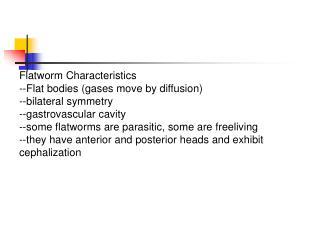 Flatworm Characteristics