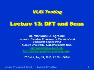 VLSI Testing Lecture 13: DFT and Scan