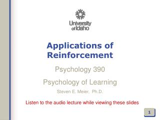 Applications of Reinforcement