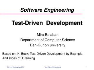 Software Engineering Test-Driven  Development