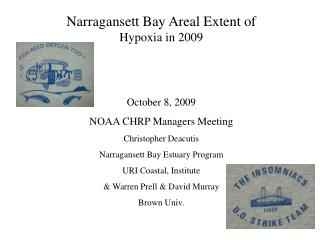 Narragansett Bay Areal Extent of  Hypoxia in 2009 October 8, 2009 NOAA CHRP Managers Meeting Christopher Deacutis  Narr