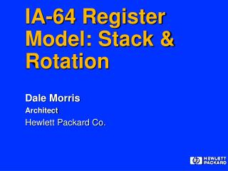 IA-64 Register Model: Stack & Rotation