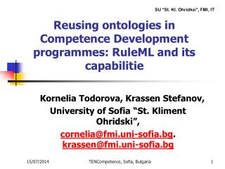Reusing ontologies in Competence Development programmes: RuleML and its capabilitie